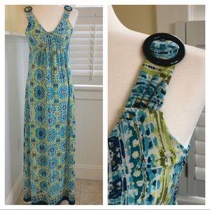 NY Collection Teal & Green Empire-Waist Maxi Dress